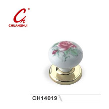 Furniture Hardware Ceramic Knob Handles with Pink Flowers